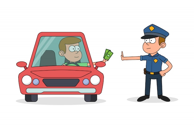 Police man rejecting bribe from the driver