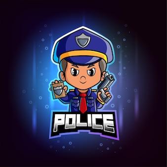 Полицейский талисман киберспорт красочный логотип
