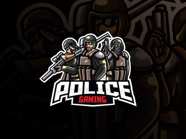 Полицейский талисман спортивный дизайн логотипа