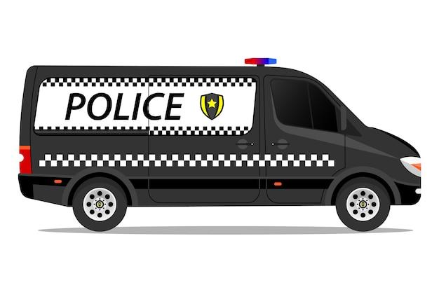 白い背景の上の警察の現代バンイラスト