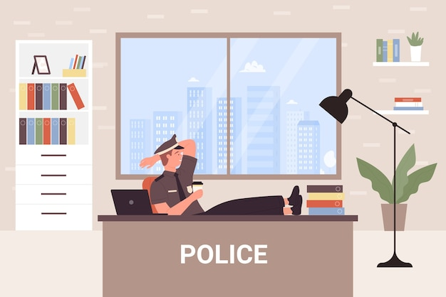 Police office department  illustration.