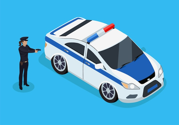 Police officer and car