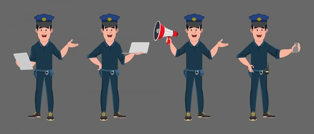 Police officer cartoon character in different poses