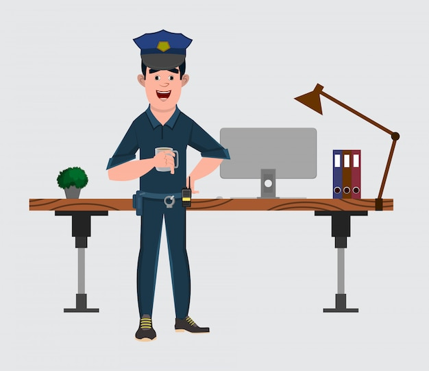 Police officer cartoon character stands near his table or workplace