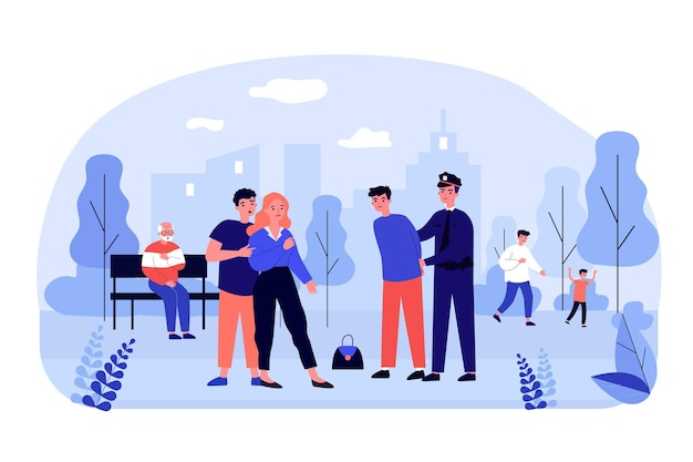 Police officer catching thief in city park. bag, outlaw, protection flat vector illustration. law and theft concept for banner, website design or landing web page