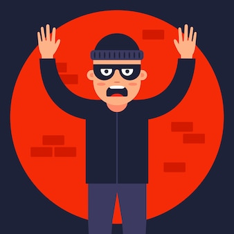 Police officer caught the thief in the spotlight. find the masked robber. flat  illustration.