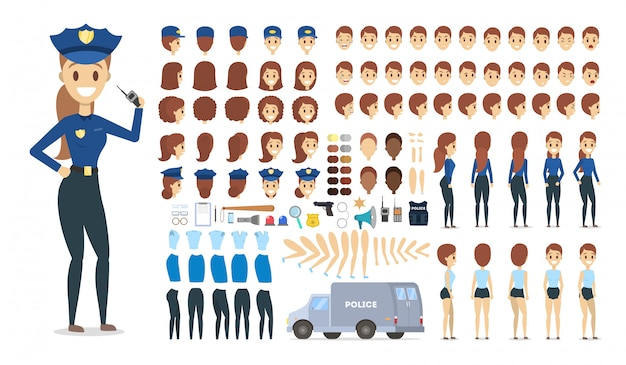 さまざまなビュー、髪型、感情、ポーズ、ジェスチャーを備えたアニメーションの警官キャラクターセット。女性警官。図