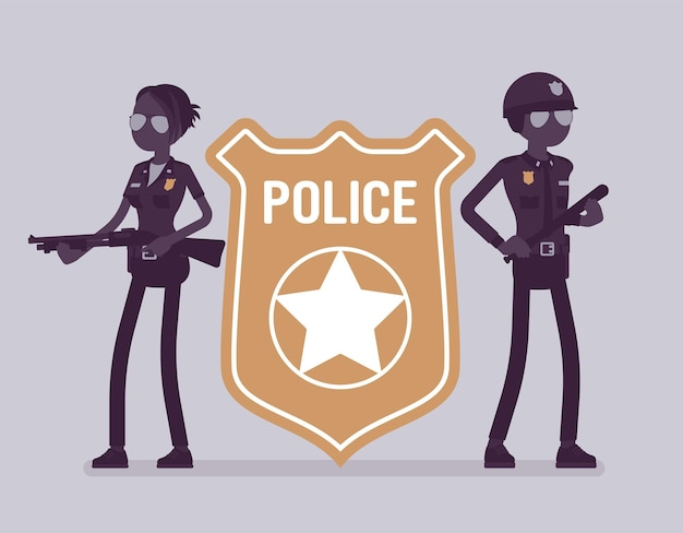 Police officer emblem and policemen. male, female officers standing near giant bright cop badge, symbol of policing, professional sign of authority, service. vector illustration, faceless characters