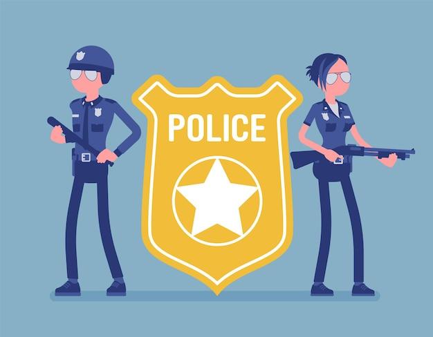 Police officer emblem and policemen