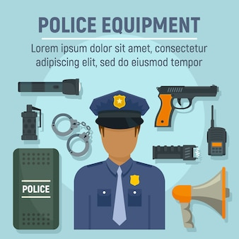 Police officer equipment template, flat style