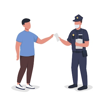 Police officer hands over paper to witness semi flat color vector characters