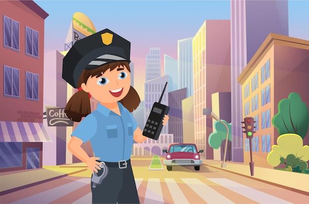 道路の車の交通を管理する街の通りの子供の警官に取り組んでいる警察官の幸せな女の子。