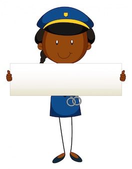 Police officer holding blank sign