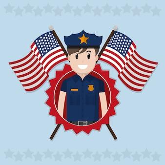 アメリカの警察官が旗を渡った