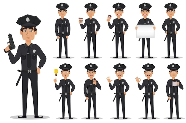 Police officer, policeman, set