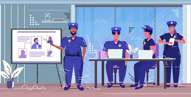 Police officer presenting to colleagues information board with thief photo african american policeman in uniform security authority justice law service concept