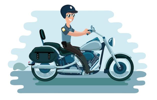 警察官がバイクに乗る