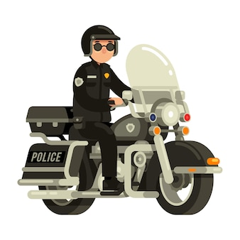 Police officer riding motorcycle in flat style