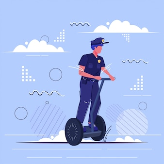 Police officer riding self balancing scooter policeman in uniform using electric gyroscooter personal transport security authority justice law service concept sketch full length