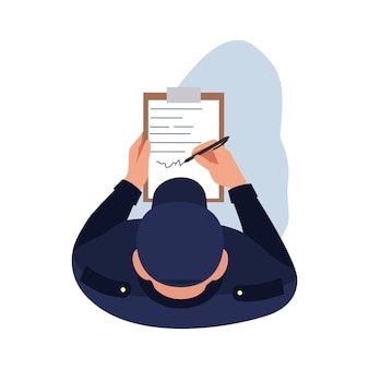 Police officer semi flat rgb color vector illustration. man write official order. regulation paperwork. patrol man with clipboard. guard isolated cartoon character top view on white background
