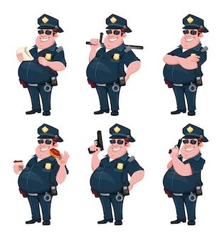 6 포즈의 경찰 세트 명랑 만화 캐릭터 경찰관