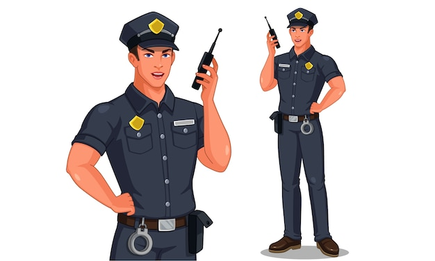 Police officer in standing pose talking on walkie-talkie radio illustration