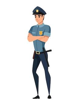 紺色のズボン水色のシャツ漫画のキャラクターデザインフラットベクトルイラストを身に着けている警察官