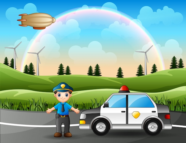 Police officer with police car in nature background