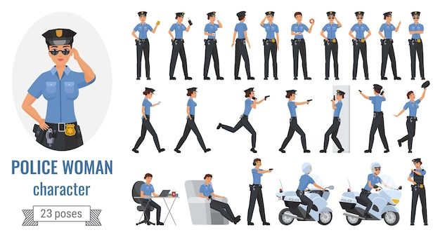 Police officer woman poses  illustration set.