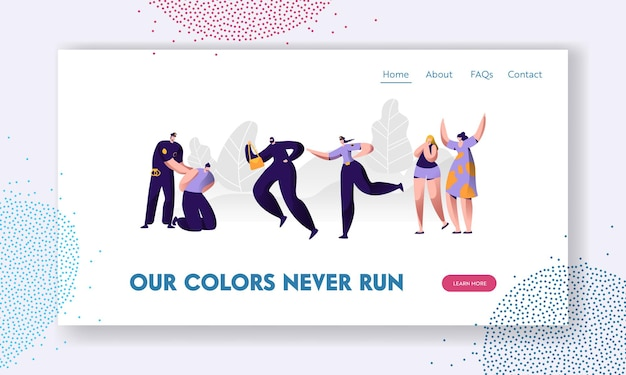 Police officer at work. policeman put handcuffs on offender, woman catch up thief to arrest, criminal steal bag, victim witness website landing page, web page. cartoon flat vector illustration