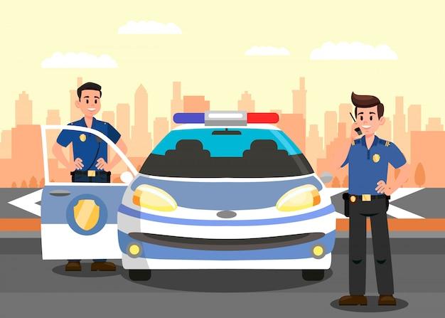 Сотрудники полиции и автомобиль плоский векторная иллюстрация