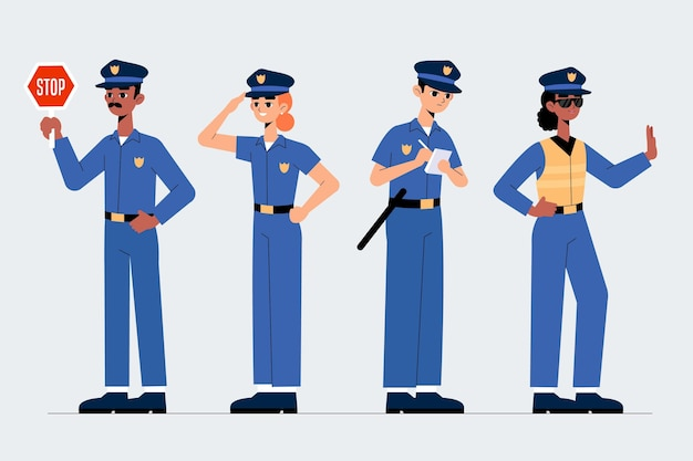 Police officers collection concept