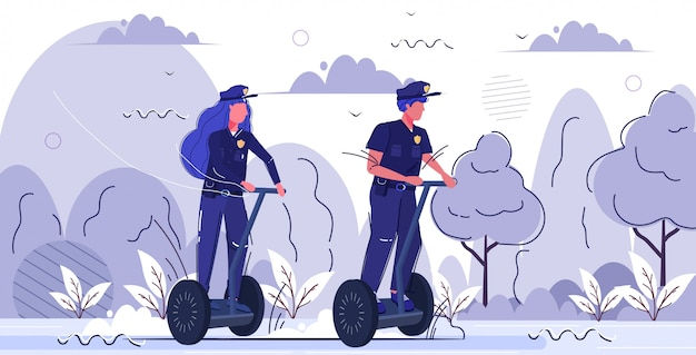 Police officers couple riding gyroboard man woman in uniform using electric gyroscooter personal transport security authority justice law service concept