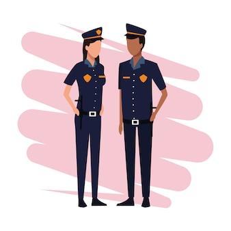 Сотрудники полиции и рабочие