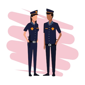 Police officers job and workers