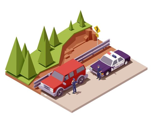 警察官が道路のイラストで車を止めます