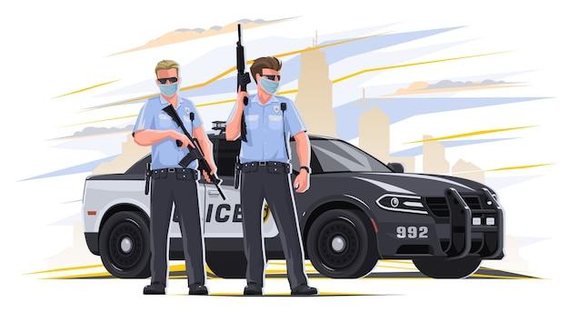 손에 무기를 든 경찰은 법 집행 기관에서 근무합니다. 백그라운드에서 경찰차는 위험한 일을합니다. 경찰은 법 집행 기관에 있습니다.