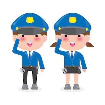 경찰 여자와 남자 경찰 캐릭터, 유니폼 그림에서 보안에 격리 된 화이트