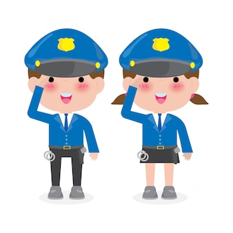 Police officers woman and man cops characters,security in uniform  illustration isolated on white