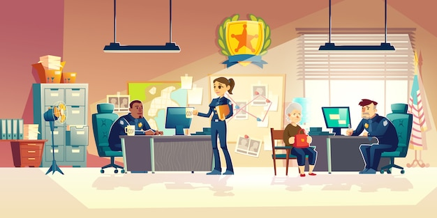 Сотрудники полиции, работающие в офисе мультфильм вектор