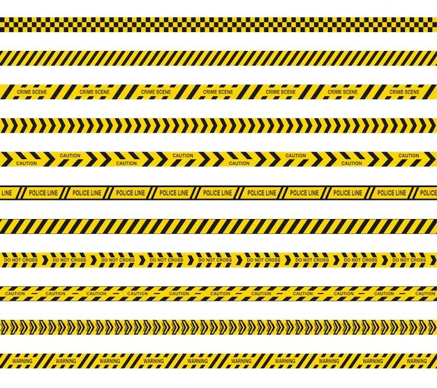 警察またはバリケードテープは交差しません。危険の黒と黄色の縞模様。シームレスなバリアライン。