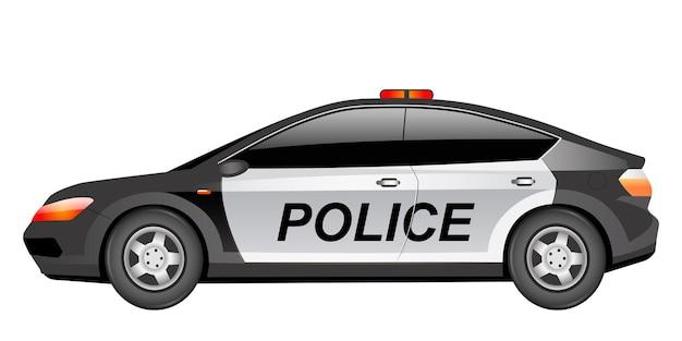 警察のパトカー漫画。法執行機関、警察は公式輸送フラットカラーオブジェクトを強制します。警官車両。白い背景で隔離の点滅ライトとモダンなセダン