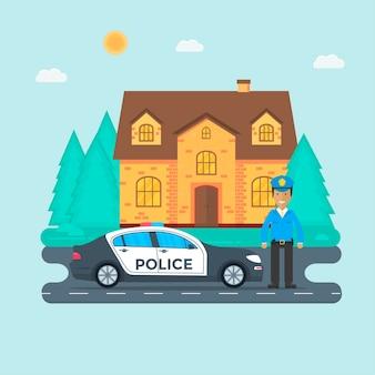 Полицейский патруль на дороге с полицейской машиной, офицером, домом, природным пейзажем. полицейский в форме, машина с мигалками на крыше. плоские векторные иллюстрации.