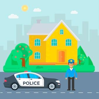 パトカー、警官、家、自然の風景のある道路での警察のパトロール。制服を着た警官、屋上に点滅するライトが付いた車両。フラットベクトルイラスト。