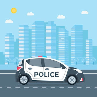 Police patrol on a road with police car, house, nature landscape. vehicle with rooftop flashing lights.