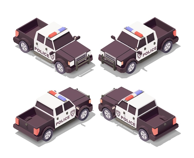 Police pick up car with various angles illustration