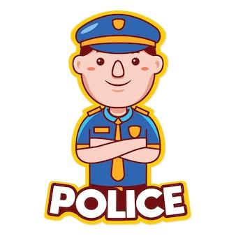 Вектор логотипа талисмана профессии полиции в мультяшном стиле