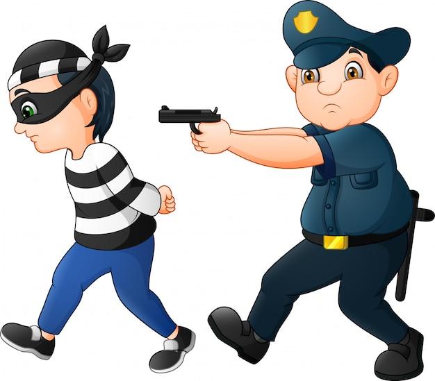 The police put their guns on the thief