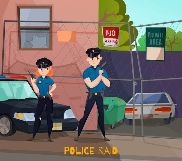Police raid cartoon composition