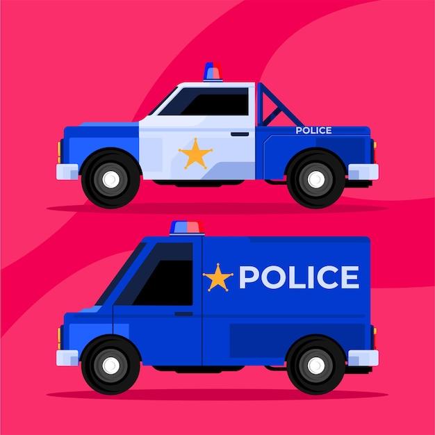 경찰 구조대 차량 픽업 및 박스 트럭